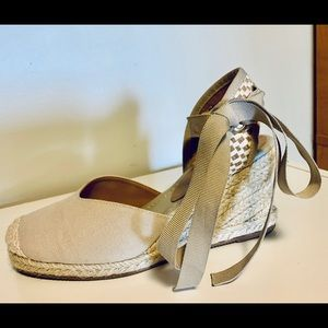 Wedge sandals , Espadrille ankle strap , size 7
